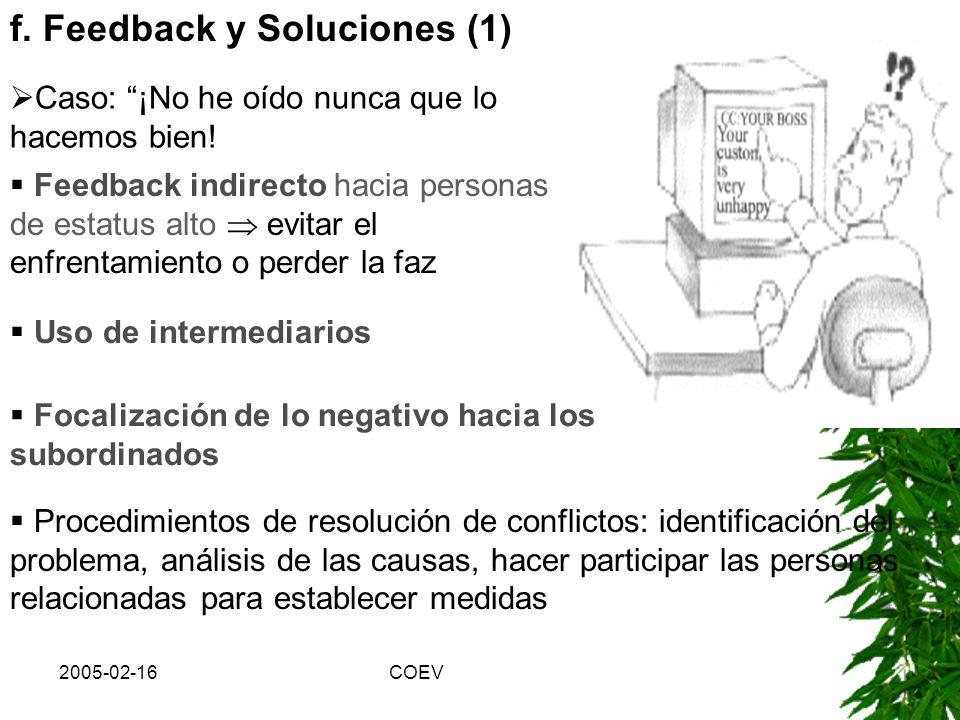 2005-02-16COEV Consejos (continuación): b)Para converger objetivos y llegar a una solución Precisar los objetivos y las expectativas antes de la reuni