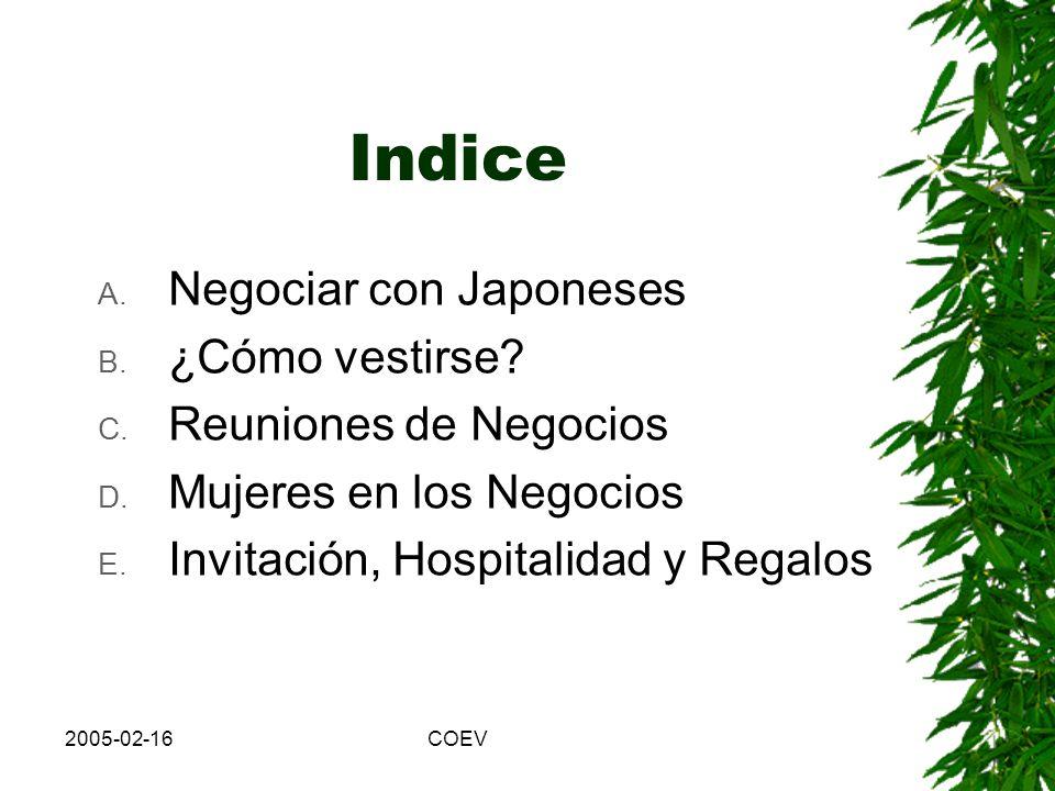 2005-02-16COEV Indice A.Negociar con Japoneses B.