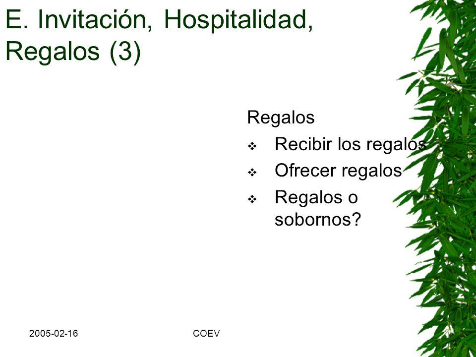 2005-02-16COEV b) Hospitalidad: Devolver la amabilidad E. Invitación, Hospitalidad, Regalos (2)