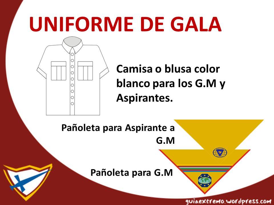 UNIFORME DE GALA Camisa o blusa color blanco para los G.M y Aspirantes.