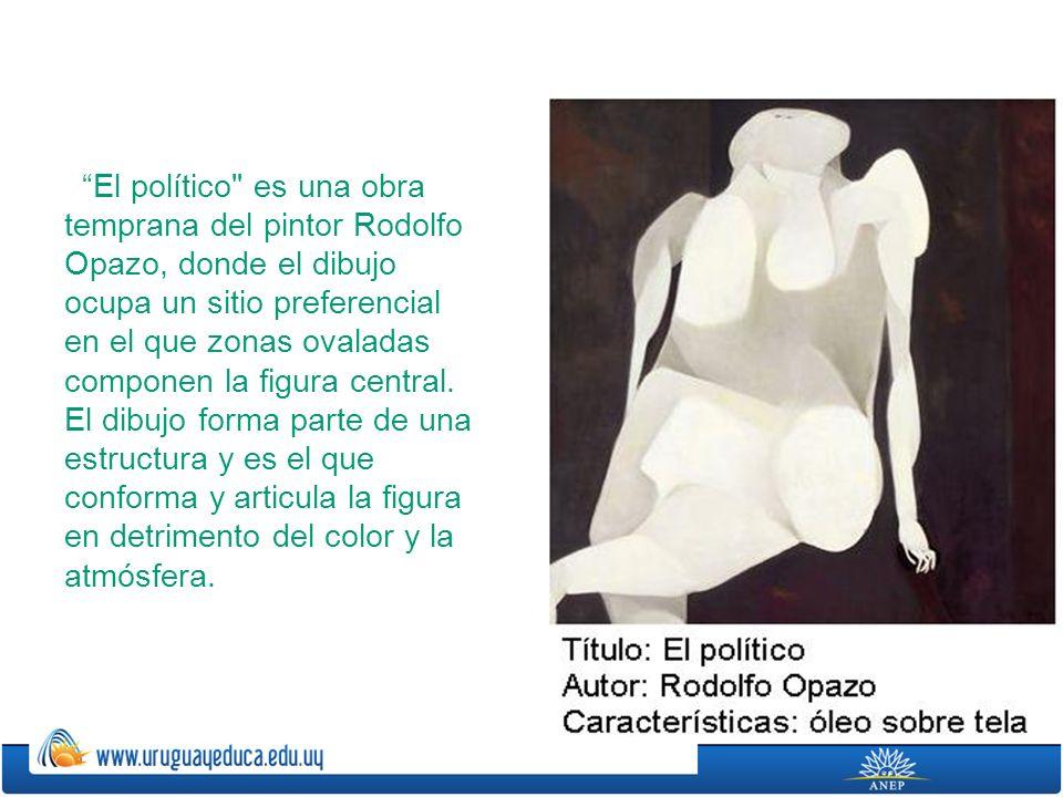 El político es una obra temprana del pintor Rodolfo Opazo, donde el dibujo ocupa un sitio preferencial en el que zonas ovaladas componen la figura central.