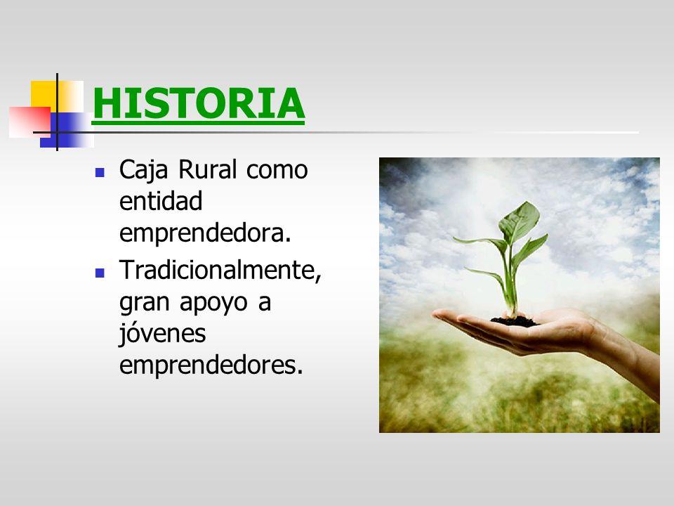 HISTORIA Caja Rural como entidad emprendedora. Tradicionalmente, gran apoyo a jóvenes emprendedores.