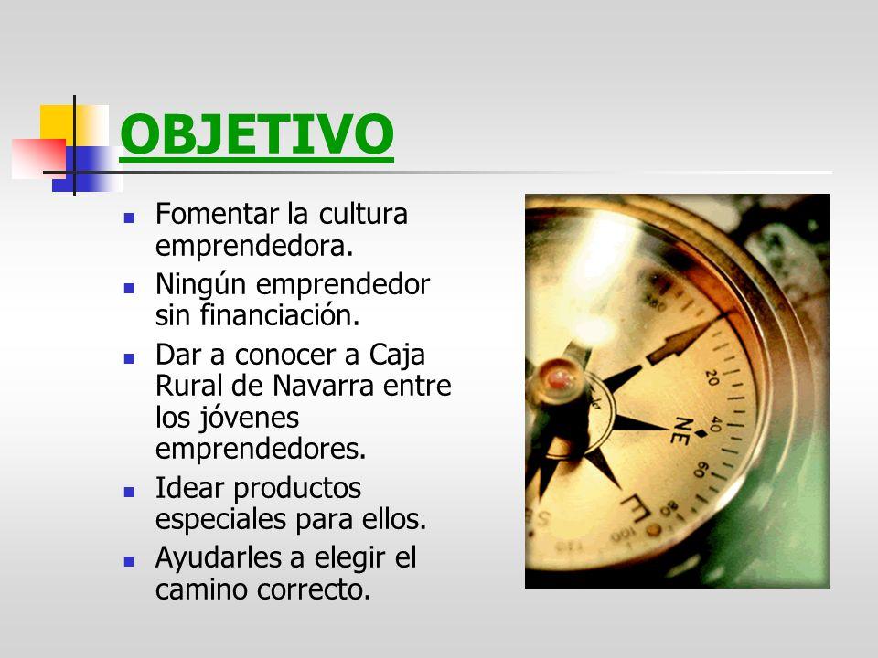 OBJETIVO Fomentar la cultura emprendedora. Ningún emprendedor sin financiación. Dar a conocer a Caja Rural de Navarra entre los jóvenes emprendedores.