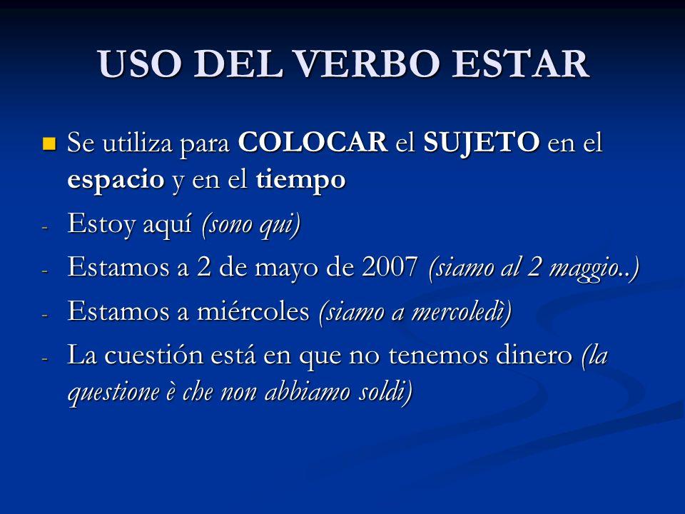 USO DEL VERBO ESTAR Se utiliza para COLOCAR el SUJETO en el espacio y en el tiempo Se utiliza para COLOCAR el SUJETO en el espacio y en el tiempo - Es