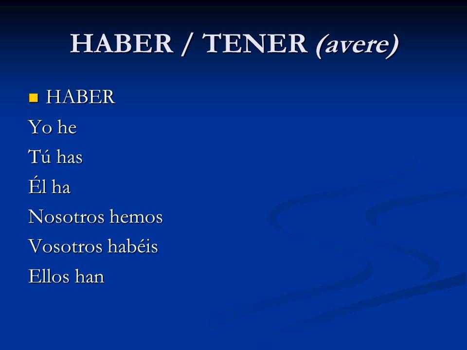 HABER / TENER (avere) HABER HABER Yo he Tú has Él ha Nosotros hemos Vosotros habéis Ellos han