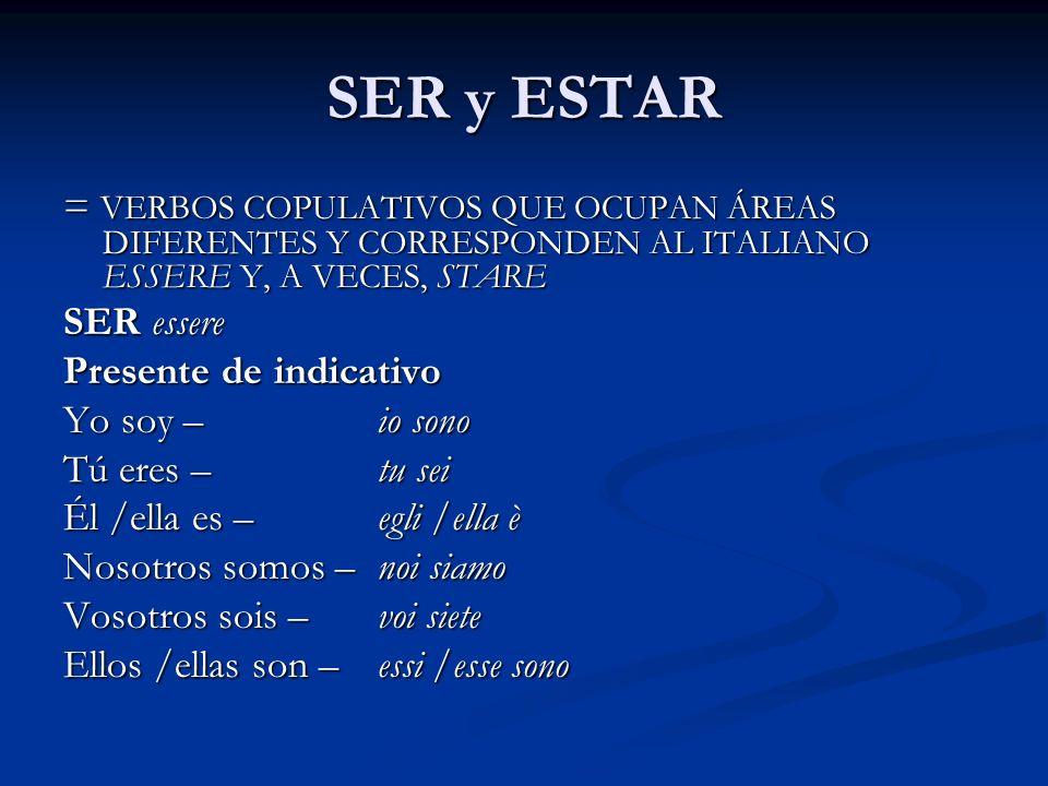 SER y ESTAR = VERBOS COPULATIVOS QUE OCUPAN ÁREAS DIFERENTES Y CORRESPONDEN AL ITALIANO ESSERE Y, A VECES, STARE SER essere Presente de indicativo Yo