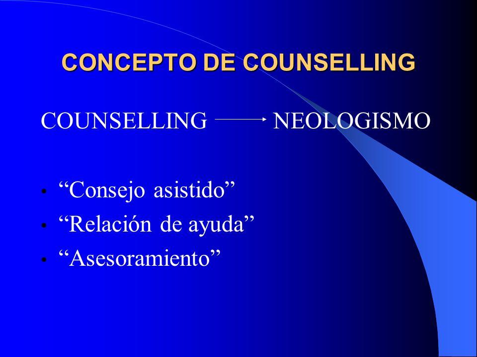 CONCEPTO DE COUNSELLING COUNSELLING NEOLOGISMO Consejo asistido Relación de ayuda Asesoramiento