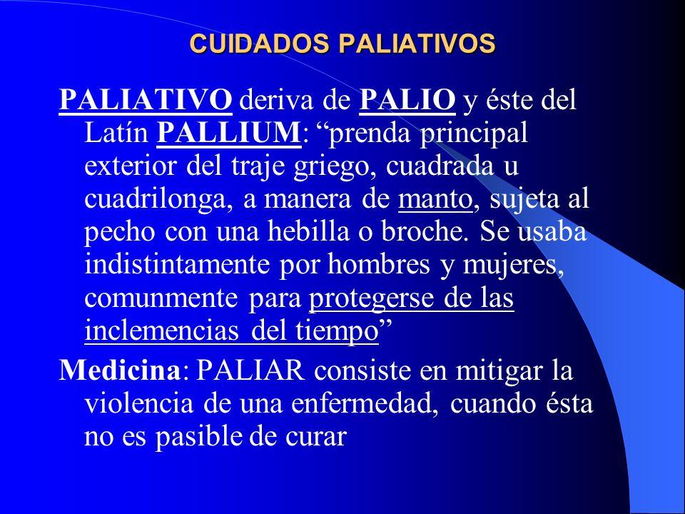 PALIATIVO deriva de PALIO y éste del Latín PALLIUM: prenda principal exterior del traje griego, cuadrada u cuadrilonga, a manera de manto, sujeta al pecho con una hebilla o broche.