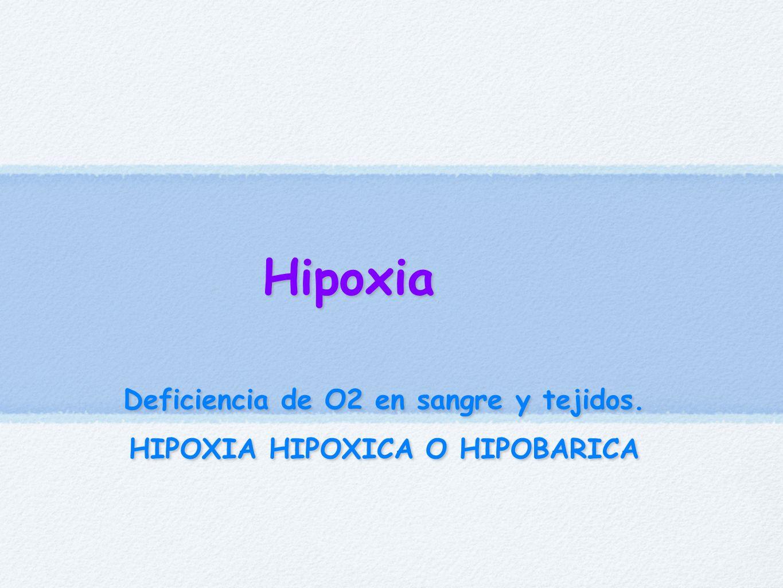 Hipoxia Deficiencia de O2 en sangre y tejidos. HIPOXIA HIPOXICA O HIPOBARICA Deficiencia de O2 en sangre y tejidos. HIPOXIA HIPOXICA O HIPOBARICA
