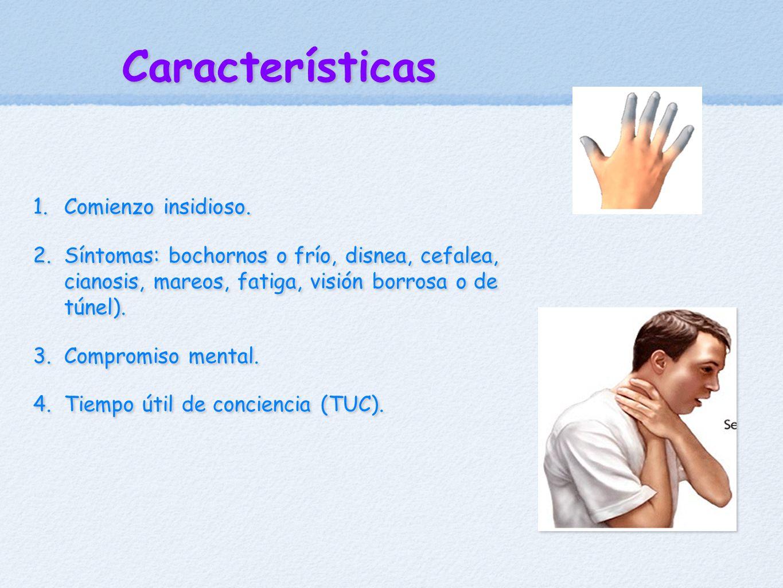 Características 1. Comienzo insidioso. 2. Síntomas: bochornos o frío, disnea, cefalea, cianosis, mareos, fatiga, visión borrosa o de túnel). 3. Compro