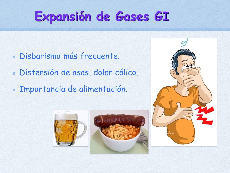 Expansión de Gases GI Disbarismo más frecuente. Distensión de asas, dolor cólico. Importancia de alimentación.