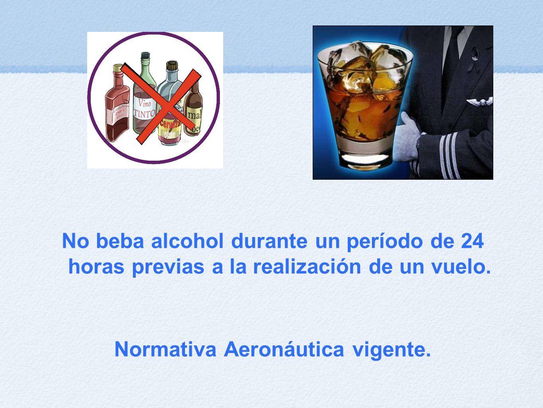 No beba alcohol durante un período de 24 horas previas a la realización de un vuelo. Normativa Aeronáutica vigente.
