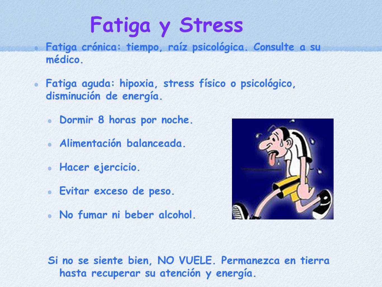Fatiga y Stress Fatiga crónica: tiempo, raíz psicológica. Consulte a su médico. Fatiga aguda: hipoxia, stress físico o psicológico, disminución de ene