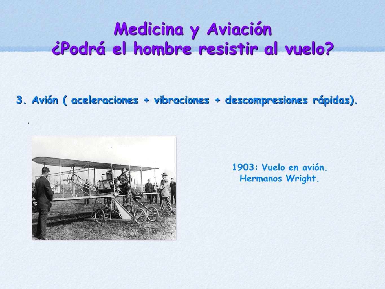 Medicina y Aviación ¿Podrá el hombre resistir al vuelo? 3. Avión ( aceleraciones + vibraciones + descompresiones rápidas). 1903: Vuelo en avión. Herma