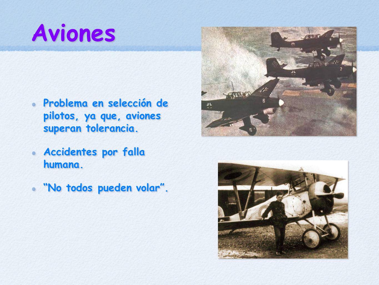 Aviones Problema en selección de pilotos, ya que, aviones superan tolerancia. Accidentes por falla humana. No todos pueden volar. Problema en selecció