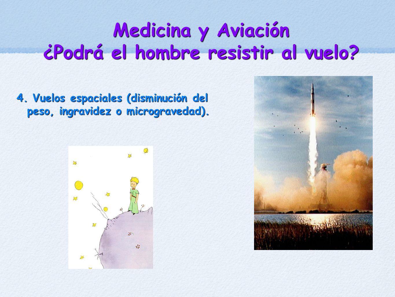 Medicina y Aviación ¿Podrá el hombre resistir al vuelo? 4. Vuelos espaciales (disminución del peso, ingravidez o microgravedad).