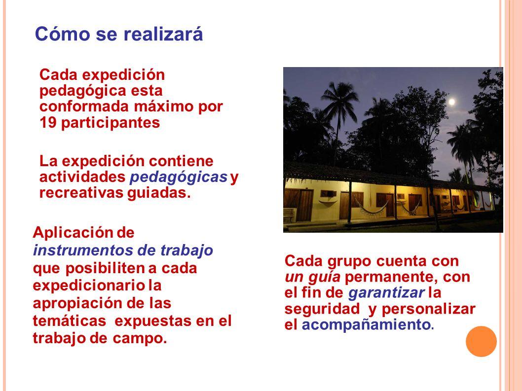 Cómo se realizará Cada expedición pedagógica esta conformada máximo por 19 participantes La expedición contiene actividades pedagógicas y recreativas guiadas.