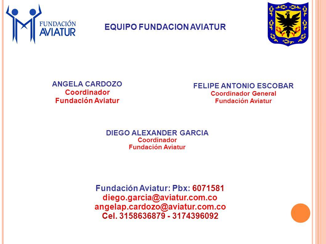 ANGELA CARDOZO Coordinador Fundación Aviatur FELIPE ANTONIO ESCOBAR Coordinador General Fundación Aviatur Fundación Aviatur: Pbx: 6071581 diego.garcia@aviatur.com.co angelap.cardozo@aviatur.com.co Cel.