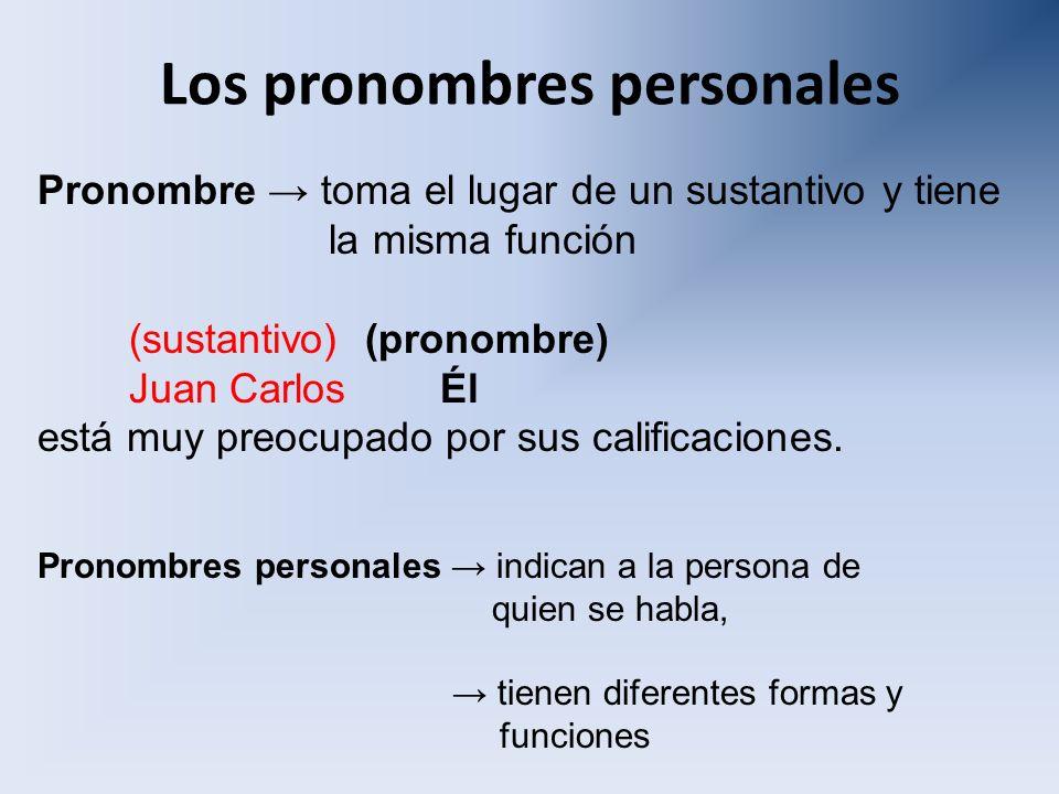Los pronombres personales Pronombre toma el lugar de un sustantivo y tiene la misma función (sustantivo) (pronombre) Juan Carlos Él está muy preocupad