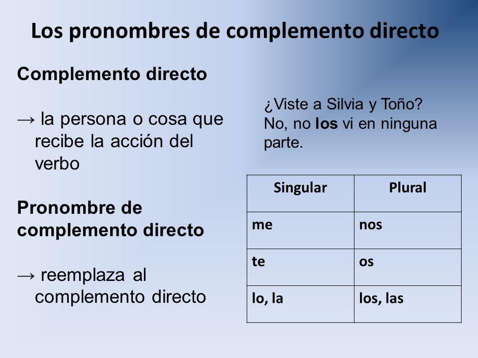 Los pronombres de complemento directo Complemento directo la persona o cosa que recibe la acción del verbo Pronombre de complemento directo reemplaza