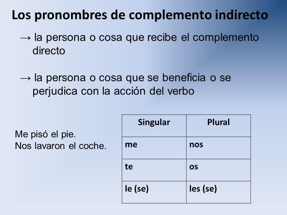 Los pronombres de complemento indirecto la persona o cosa que recibe el complemento directo la persona o cosa que se beneficia o se perjudica con la a