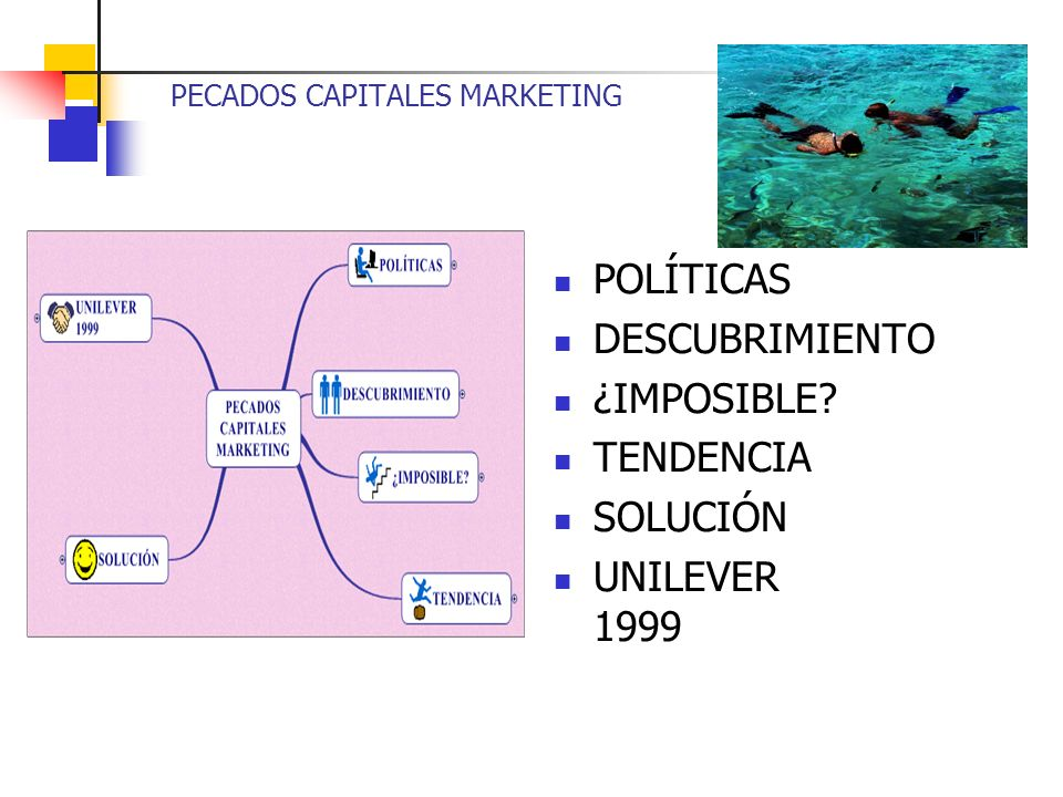 PECADOS CAPITALES MARKETING POLÍTICAS DESCUBRIMIENTO ¿IMPOSIBLE TENDENCIA SOLUCIÓN UNILEVER 1999
