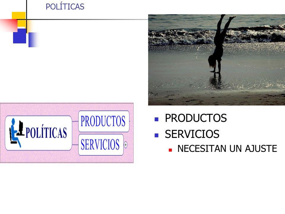 POLÍTICAS PRODUCTOS SERVICIOS NECESITAN UN AJUSTE