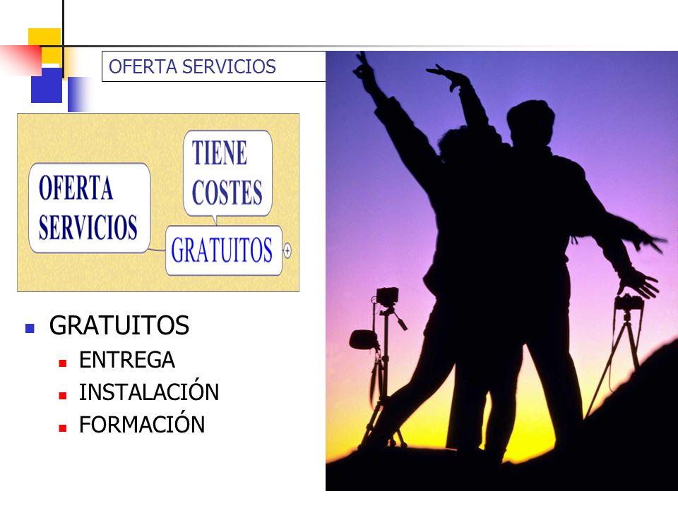 OFERTA SERVICIOS GRATUITOS ENTREGA INSTALACIÓN FORMACIÓN