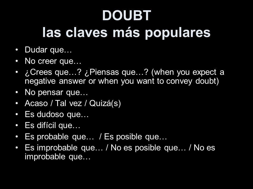 DOUBT las claves más populares Dudar que… No creer que… ¿Crees que…? ¿Piensas que…? (when you expect a negative answer or when you want to convey doub