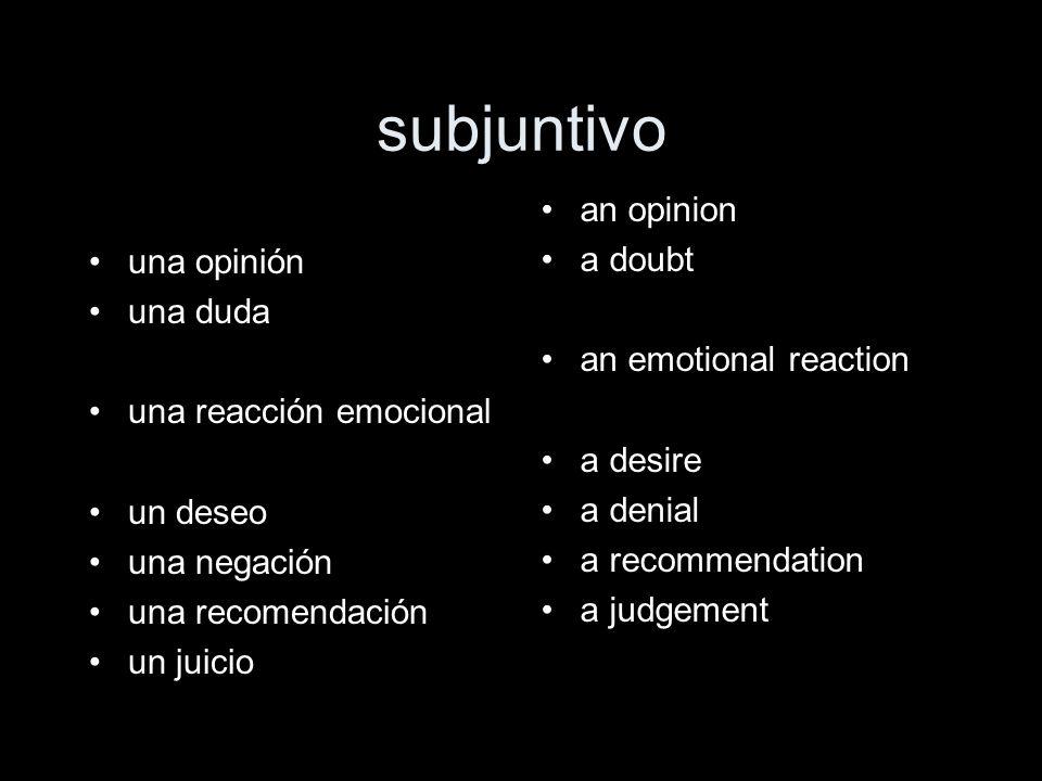 subjuntivo una opinión una duda una reacción emocional un deseo una negación una recomendación un juicio an opinion a doubt an emotional reaction a de