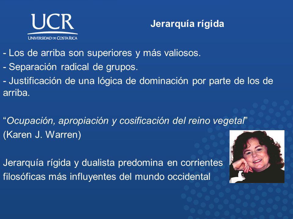 Jerarquía rígida - Los de arriba son superiores y más valiosos. - Separación radical de grupos. - Justificación de una lógica de dominación por parte
