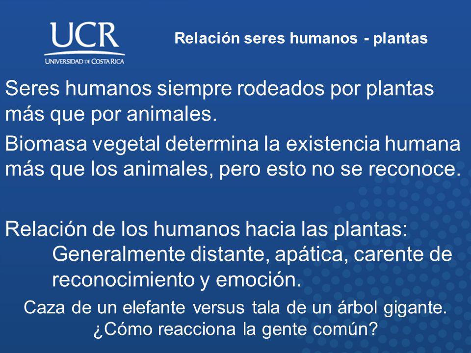 Relación seres humanos - plantas Seres humanos siempre rodeados por plantas más que por animales. Biomasa vegetal determina la existencia humana más q