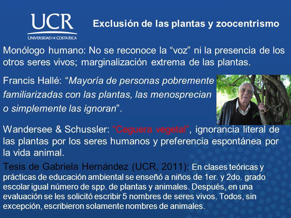 Exclusión de las plantas y zoocentrismo Ceguera vegetal (J.H.