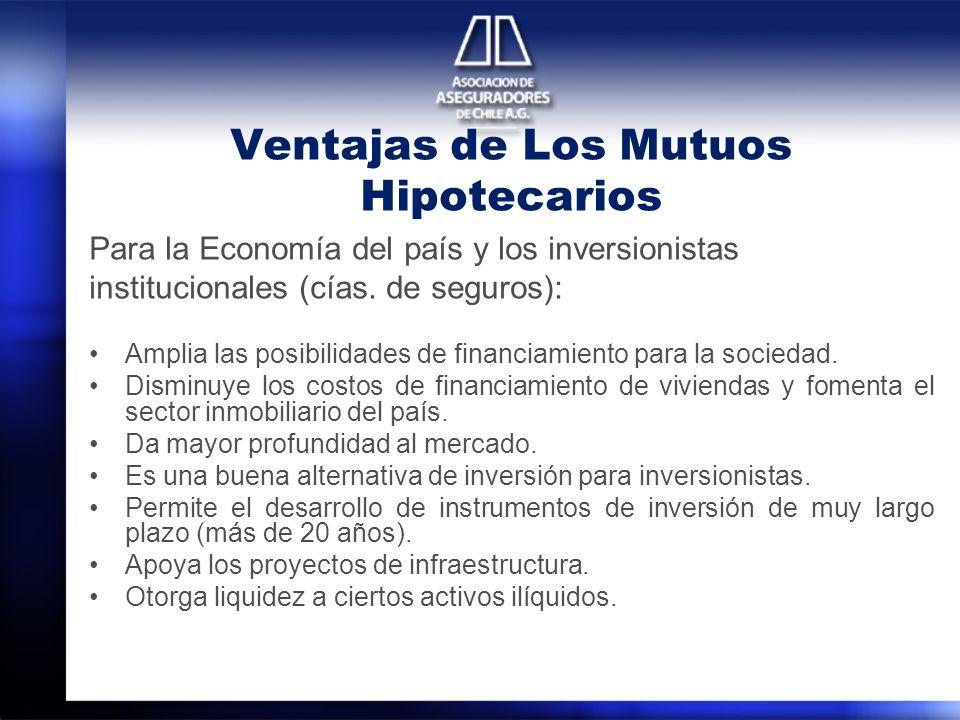 Ventajas de Los Mutuos Hipotecarios Para la Economía del país y los inversionistas institucionales (cías. de seguros): Amplia las posibilidades de fin