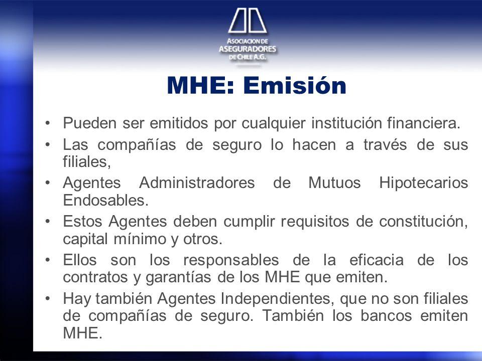 MHE: Emisión Pueden ser emitidos por cualquier institución financiera. Las compañías de seguro lo hacen a través de sus filiales, Agentes Administrado