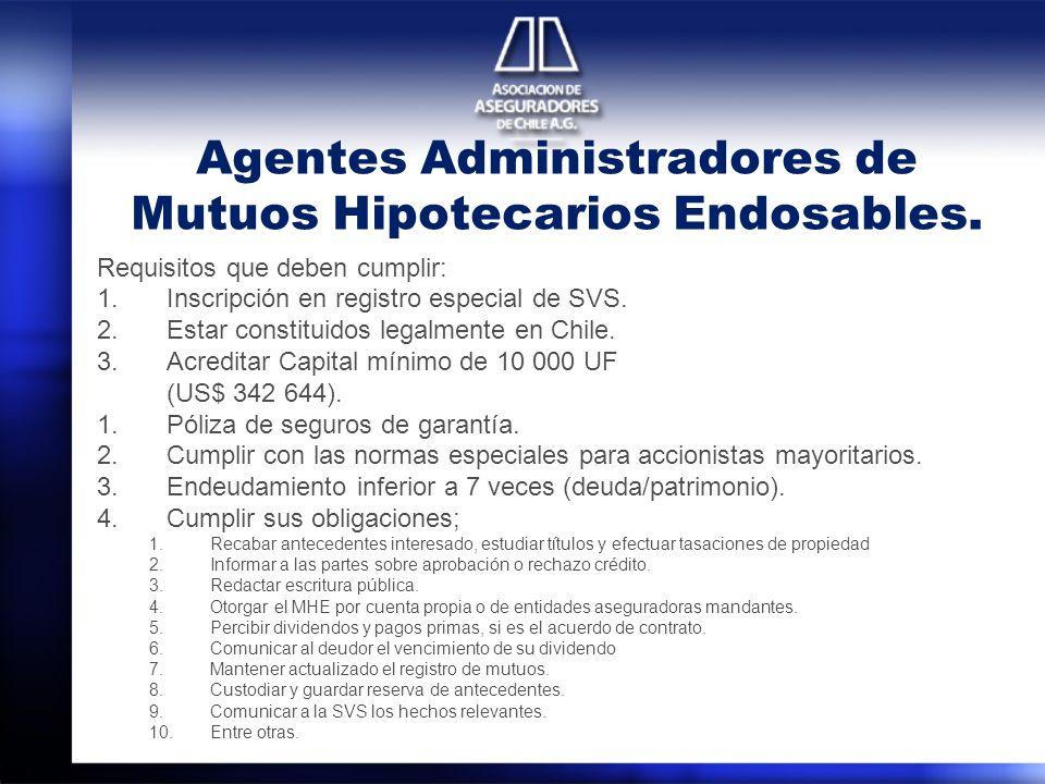 Agentes Administradores de Mutuos Hipotecarios Endosables. Requisitos que deben cumplir: 1.Inscripción en registro especial de SVS. 2.Estar constituid