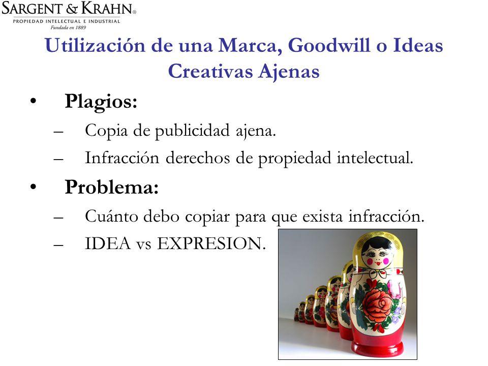 Utilización de una Marca, Goodwill o Ideas Creativas Ajenas Plagios: –Copia de publicidad ajena. –Infracción derechos de propiedad intelectual. Proble