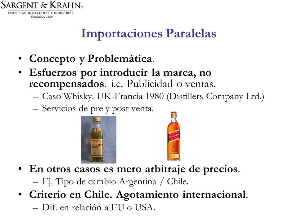 Importaciones Paralelas Concepto y Problemática. Esfuerzos por introducir la marca, no recompensados. i.e. Publicidad o ventas. –Caso Whisky. UK-Franc