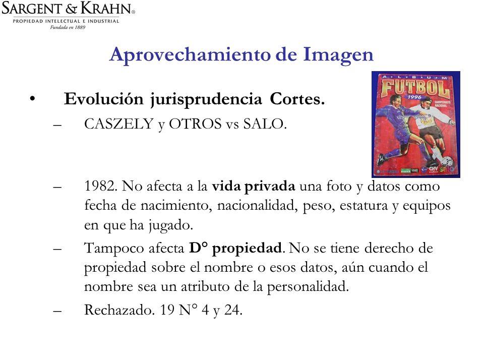 Aprovechamiento de Imagen Evolución jurisprudencia Cortes. –CASZELY y OTROS vs SALO. –1982. No afecta a la vida privada una foto y datos como fecha de