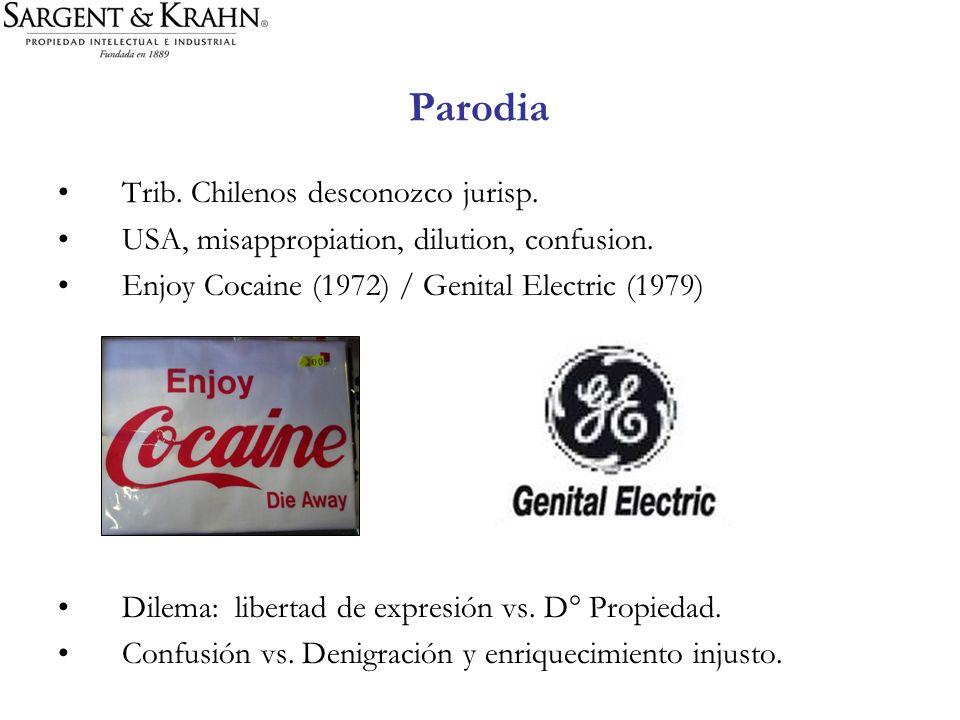 Parodia Trib. Chilenos desconozco jurisp. USA, misappropiation, dilution, confusion. Enjoy Cocaine (1972) / Genital Electric (1979) Dilema: libertad d