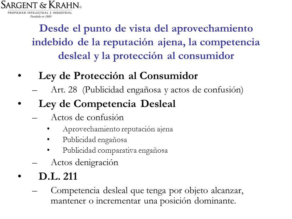 Desde el punto de vista del aprovechamiento indebido de la reputación ajena, la competencia desleal y la protección al consumidor Ley de Protección al