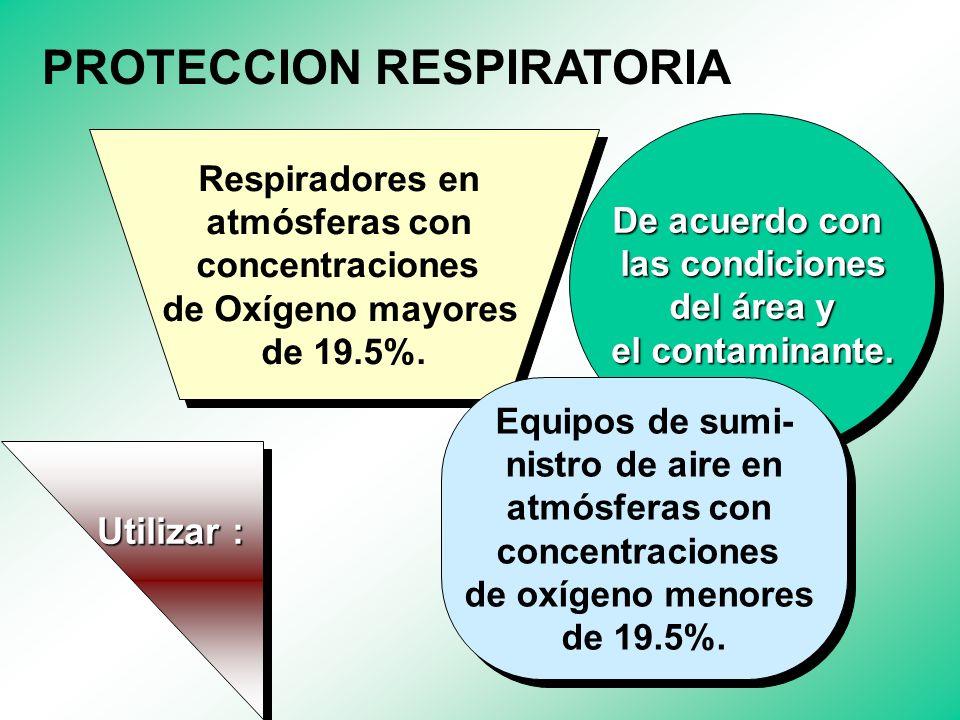EQUIPOS DE PROTECCION RESPIRATORIA EQUIPOS DE PROTECCION RESPIRATORIA Proteger las vías respiratorias en ambientes donde se superen las concentracione