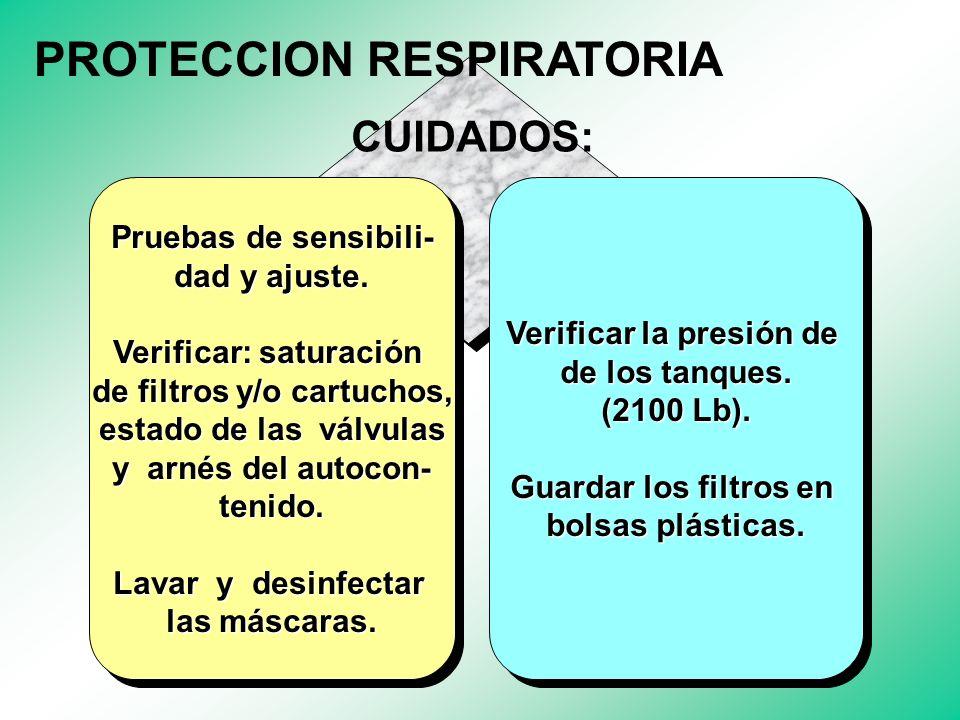 De acuerdo con las condiciones del área y del área y el contaminante. De acuerdo con las condiciones del área y del área y el contaminante. Respirador