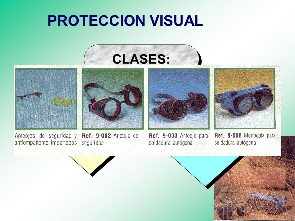 EQUIPOS DE PROTECCION VISUAL VISUAL Proteger los ojos contra agentes de riesgo que puedan afectarlos. FINALIDAD: NORMA: ANSI Z 87.1 - 1989 NORMA: ANSI