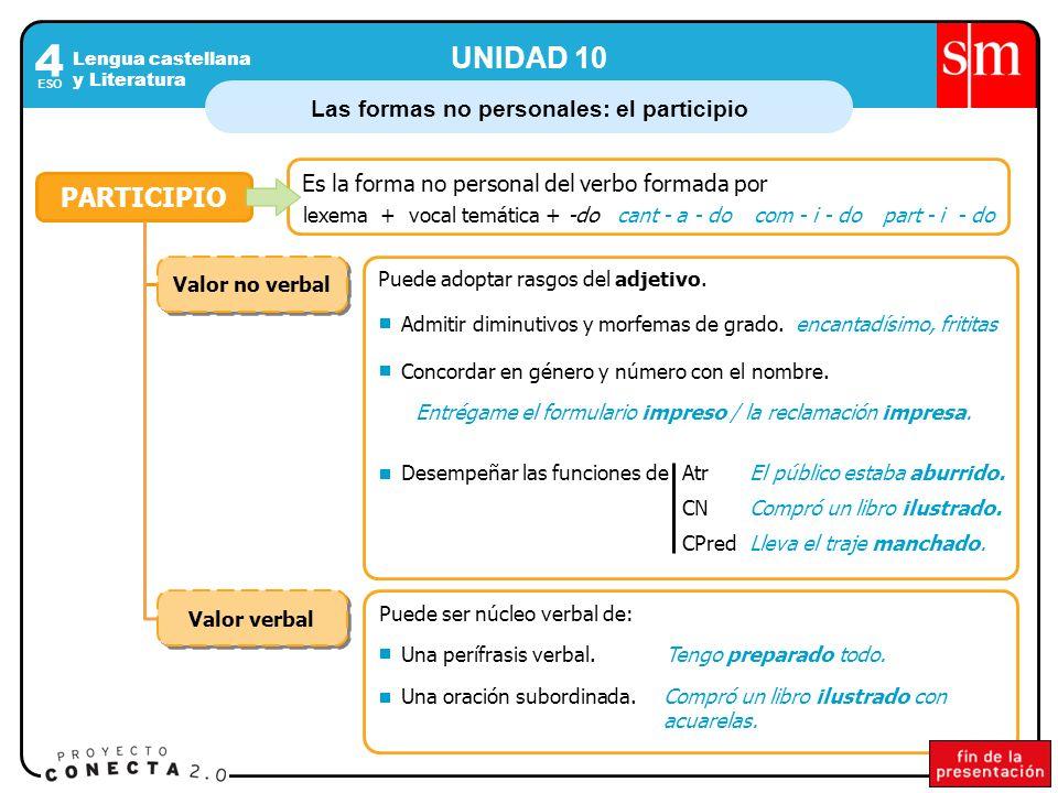 Las formas no personales: el participio Lengua castellana y Literatura 4 ESO UNIDAD 10 PARTICIPIO Es la forma no personal del verbo formada por lexema +vocal temática +cant - a - docom - i - dopart - i - do-do Valor no verbal Puede adoptar rasgos del adjetivo.