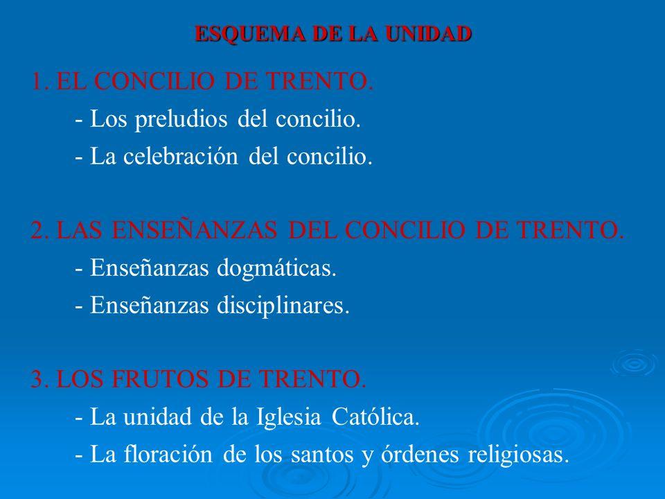 ESQUEMA DE LA UNIDAD 1.EL CONCILIO DE TRENTO. - Los preludios del concilio.