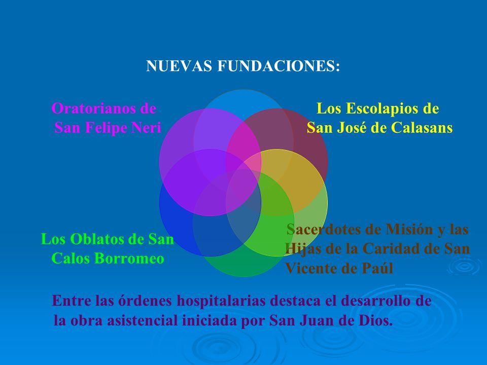 NUEVAS FUNDACIONES: Los Escolapios de San José de Calasans Sacerdotes de Misión y las Hijas de la Caridad de San Vicente de Paúl Entre las órdenes hos