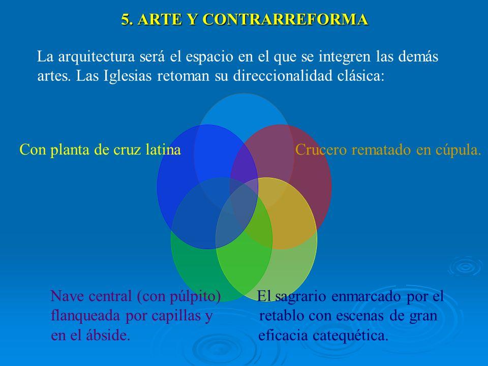 5. ARTE Y CONTRARREFORMA La arquitectura será el espacio en el que se integren las demás artes. Las Iglesias retoman su direccionalidad clásica: Cruce