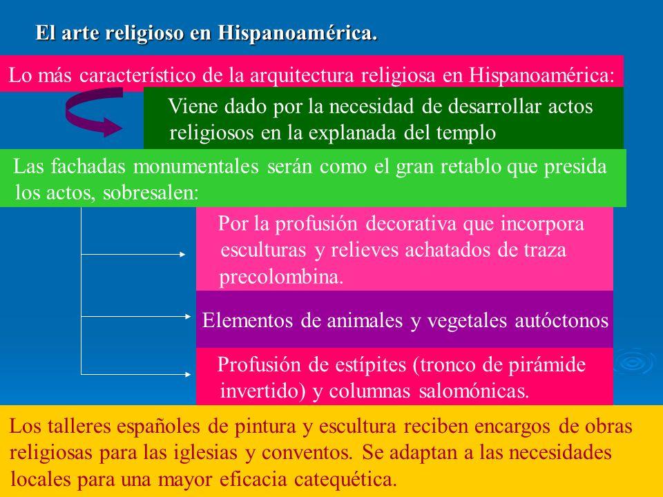 El arte religioso en Hispanoamérica. Lo más característico de la arquitectura religiosa en Hispanoamérica: Viene dado por la necesidad de desarrollar