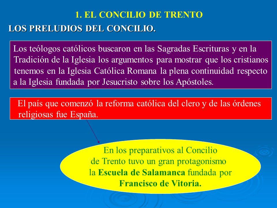 1. EL CONCILIO DE TRENTO LOS PRELUDIOS DEL CONCILIO. Los teólogos católicos buscaron en las Sagradas Escrituras y en la Tradición de la Iglesia los ar